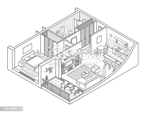 istock Apartment Isometry Line Drawing 1254988218