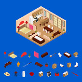 Apartment Japanese Style Interior with Furniture and Elements Isometric View. Vector
