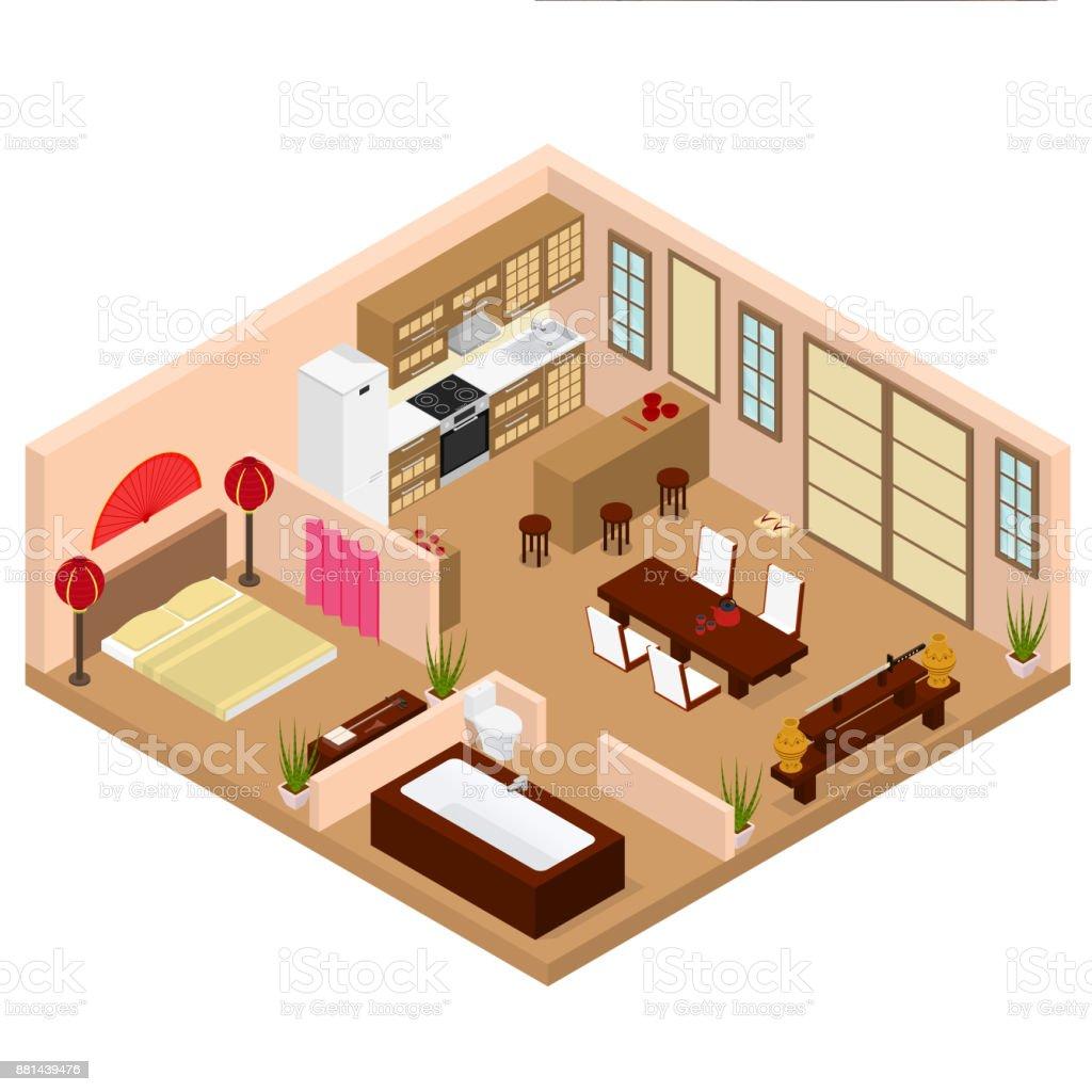 wohnung im japanischen stil eingerichtet mit m bel isometrischen ansicht vektor stock vektor art. Black Bedroom Furniture Sets. Home Design Ideas