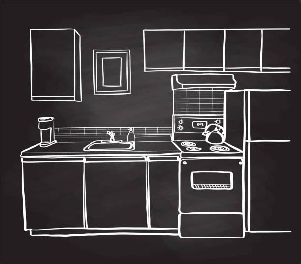 Apartment Kitchen Chalkboard vector art illustration