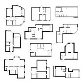 Apartment plan set. Architect scale diagram of rooms viewed from above, relationships between spaces in building. Vector illustration