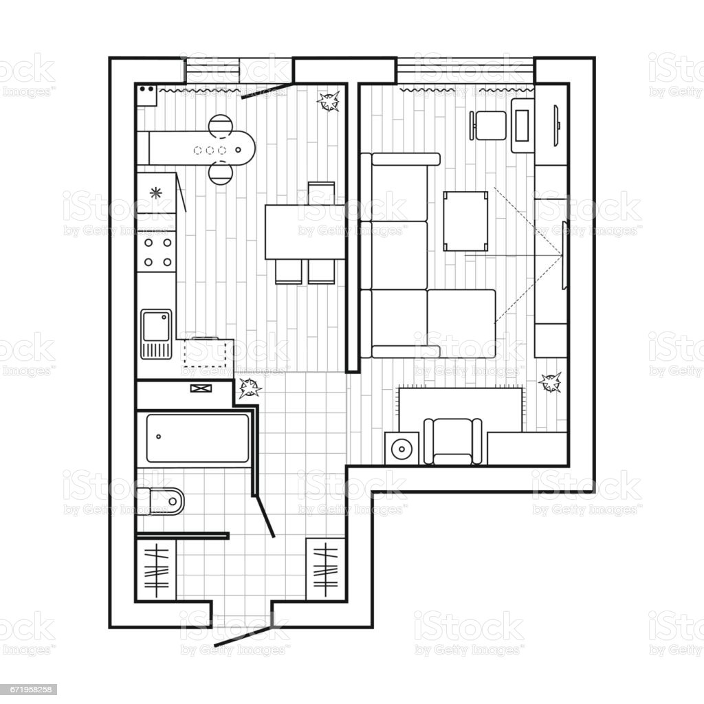 Apartment Plan Witch Furniture Thin Line Interior Design Set Top View Vector Illustration Stock Illustration - Download Image Now - IStock