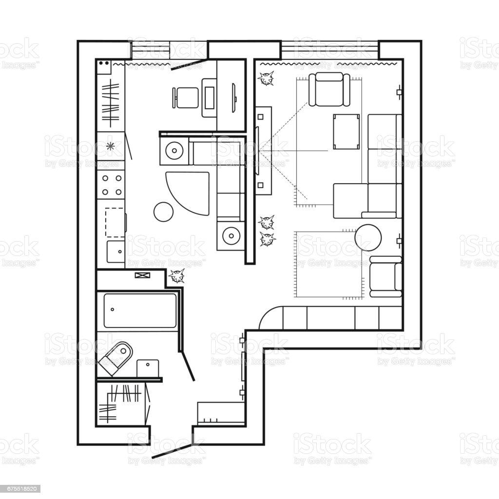 Blueprint Interior Design Set apartment plan witch furniture thin line interior design set top
