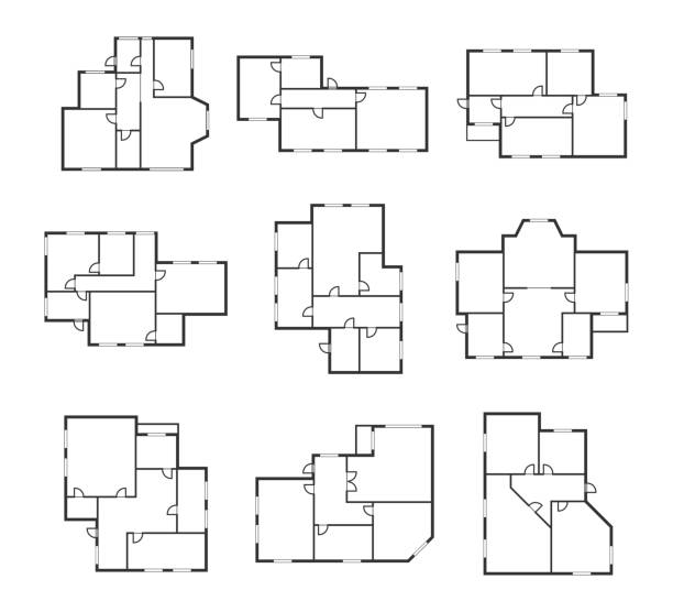 apartment plans signs black thin line icon set. vector - architecture symbols stock illustrations