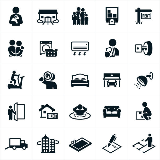 Apartment Rental Icons Icons related to the apartment and home rental market. The icons include a condo, duplex, high rise apartment building, moving truck, rent sign, laundry, amenities, fitness center, apartment search, garage, doorman, spa, moving boxes, swimming pool, agreement, contract and floor plan to name a few. lease agreement stock illustrations