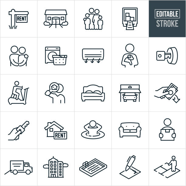 Apartment Rental Thin Line Icons - Editable Stroke A set of apartment rental icons that include editable strokes or outlines using the EPS vector file. The icons include a real estate rental sign, apartment complex, townhouse, family, moving truck, couple holding hands, washer with laundry, air conditioner, person holding dog in arms, a house key in door lock, person working on an elliptical machine, person viewing rental home through magnifying glass, bed, car in garage, down payment, hand holding house key, house with rental sign, person in hot tub, couch, person carrying moving box, moving truck, high rise apartment complex, swimming pool, lease agreement, and a floor plan to name a few. young couple stock illustrations
