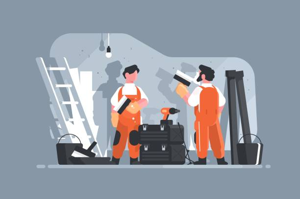 Apartment repair interior or remodeling Home repair interior or remodeling vector illustration. Repairman doing renovation at home flat style concept. Work process at room. Special tools and equipment renovation stock illustrations