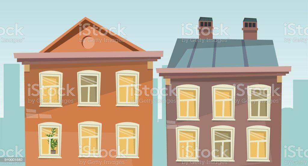 Apartment Retro Building On Street Cartoon Style Royalty Free