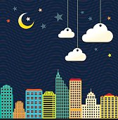 Apartments, city and night. JPG and EPS, vector.