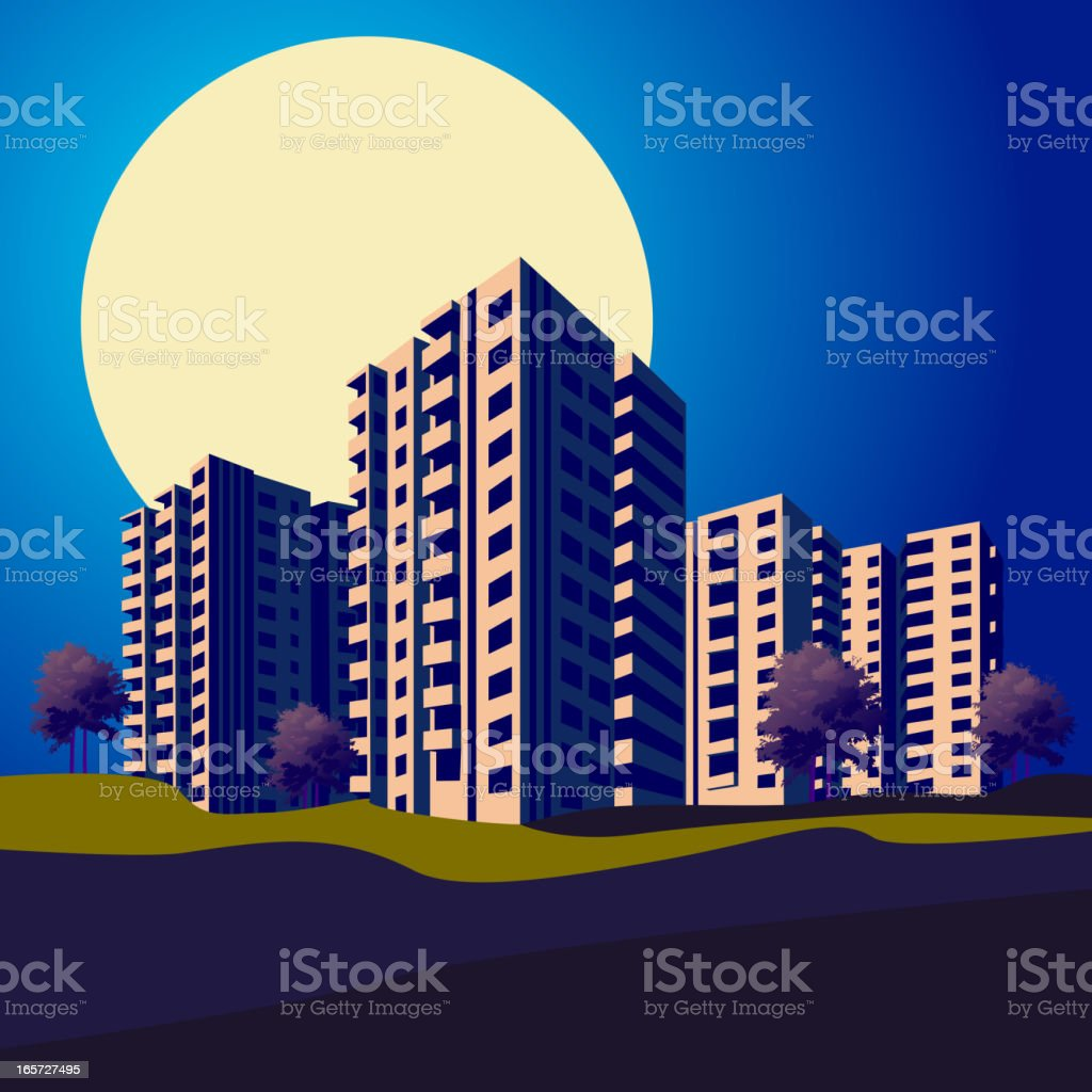 Apartments/Skyline in the Night royalty-free apartmentsskyline in the night stock vector art & more images of apartment
