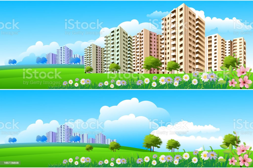 Apartments/Skyline royalty-free stock vector art
