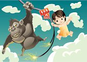 an ape and a girl are swinging on a broken high voltage wire.