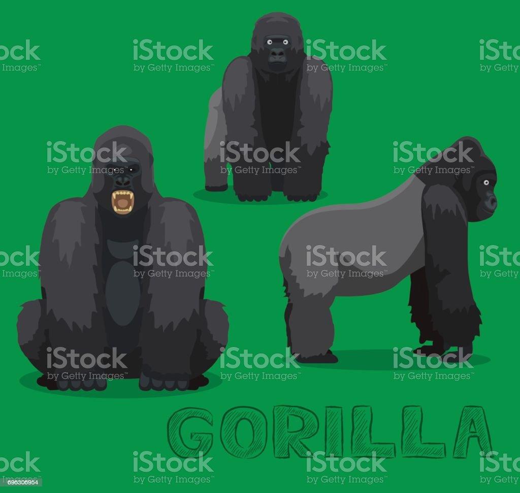 猿ゴリラ漫画ベクトル図 ベクターアートイラスト