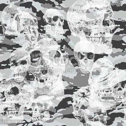 Ape & Human Skulls Camouflage Seamless Repeat Pattern