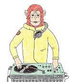 Ape DJ doodle illustration.