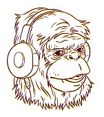Ape portrait with headphone.