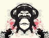 Ape with headphone. Editable vector illustration.