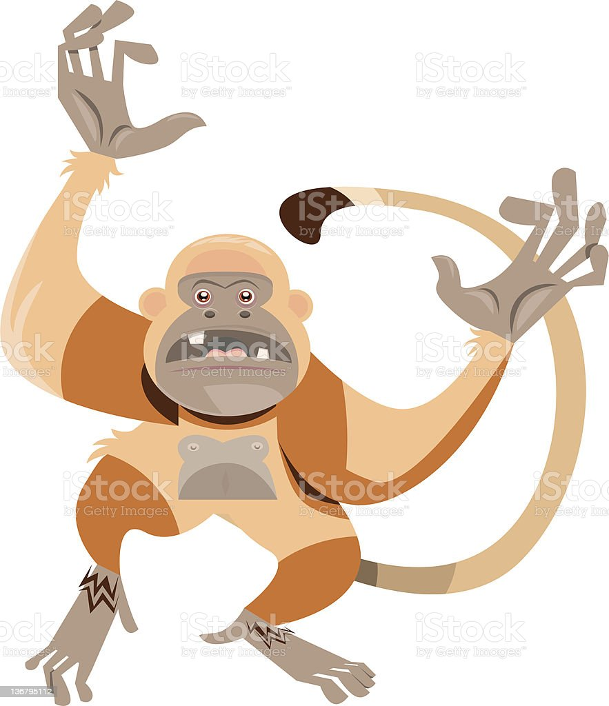 Ape Waving it's Arms/Dancing vector art illustration