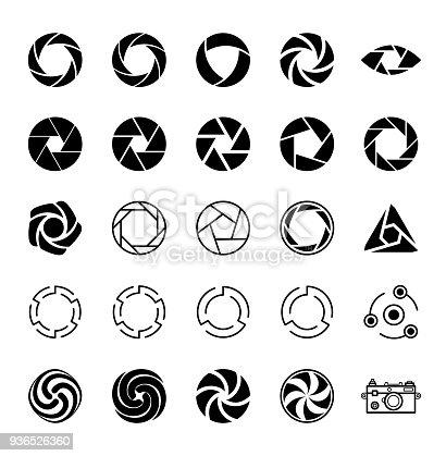 Aperture and Photo. Set of Icons.