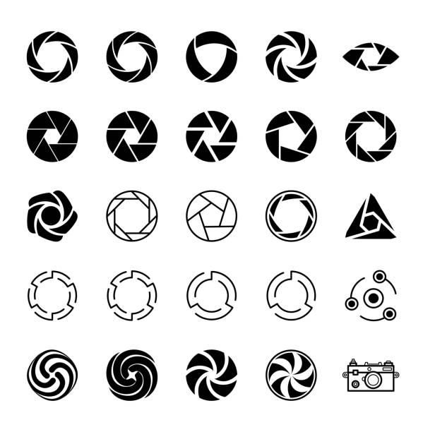 Aperture and Photo. Aperture and Photo. Set of Icons. aperture stock illustrations