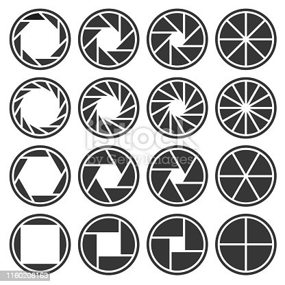 Aperture Camera Shutter Focus Icons Set. Vector illustration