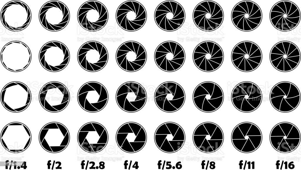 Aperture f-number illustration f/1.4-16 vector art illustration