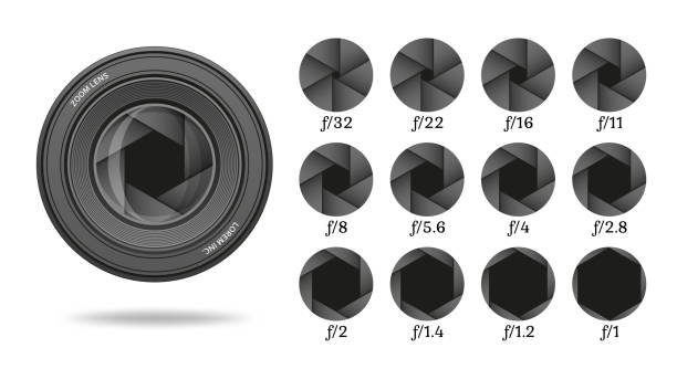 Aperture icon set with value numbers. Camera shutter lens diaphragm row. Vector illustration. Aperture icon set with value numbers. Camera shutter lens diaphragm row. Vector illustration. aperture stock illustrations