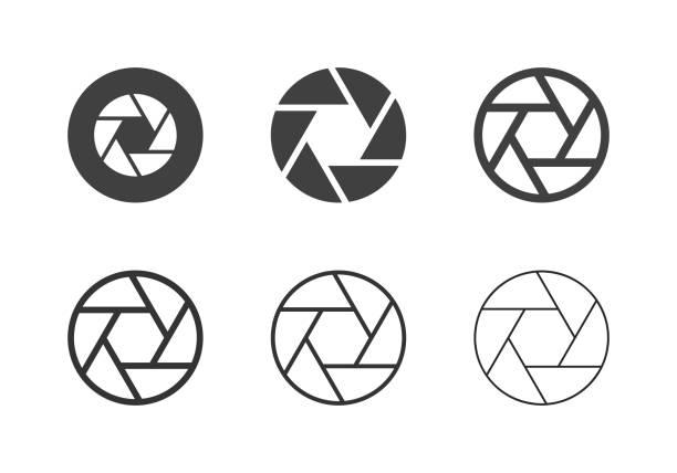 stockillustraties, clipart, cartoons en iconen met f8 diafragma pictogrammen - multi-serie - hdri landscape