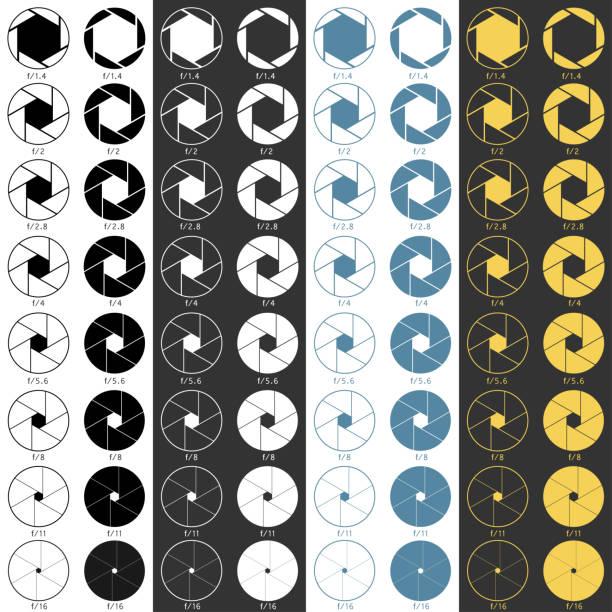 blende bereich symbole eingestellt - fotografieanleitungen stock-grafiken, -clipart, -cartoons und -symbole