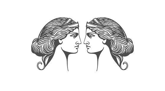 Aphrodite or Venus. Woman face logo. Emblem for a beauty or yoga salon. Vector illustration