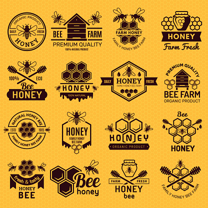 Apiary badges. Labels or logos for honey products natural healthy eco food stamps vector set