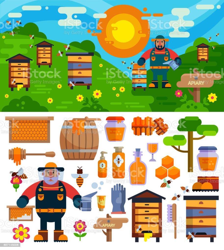 Miel de vecteur d'apiculteur rucher faisant symboles ferme icons illustration manche courte - Illustration vectorielle