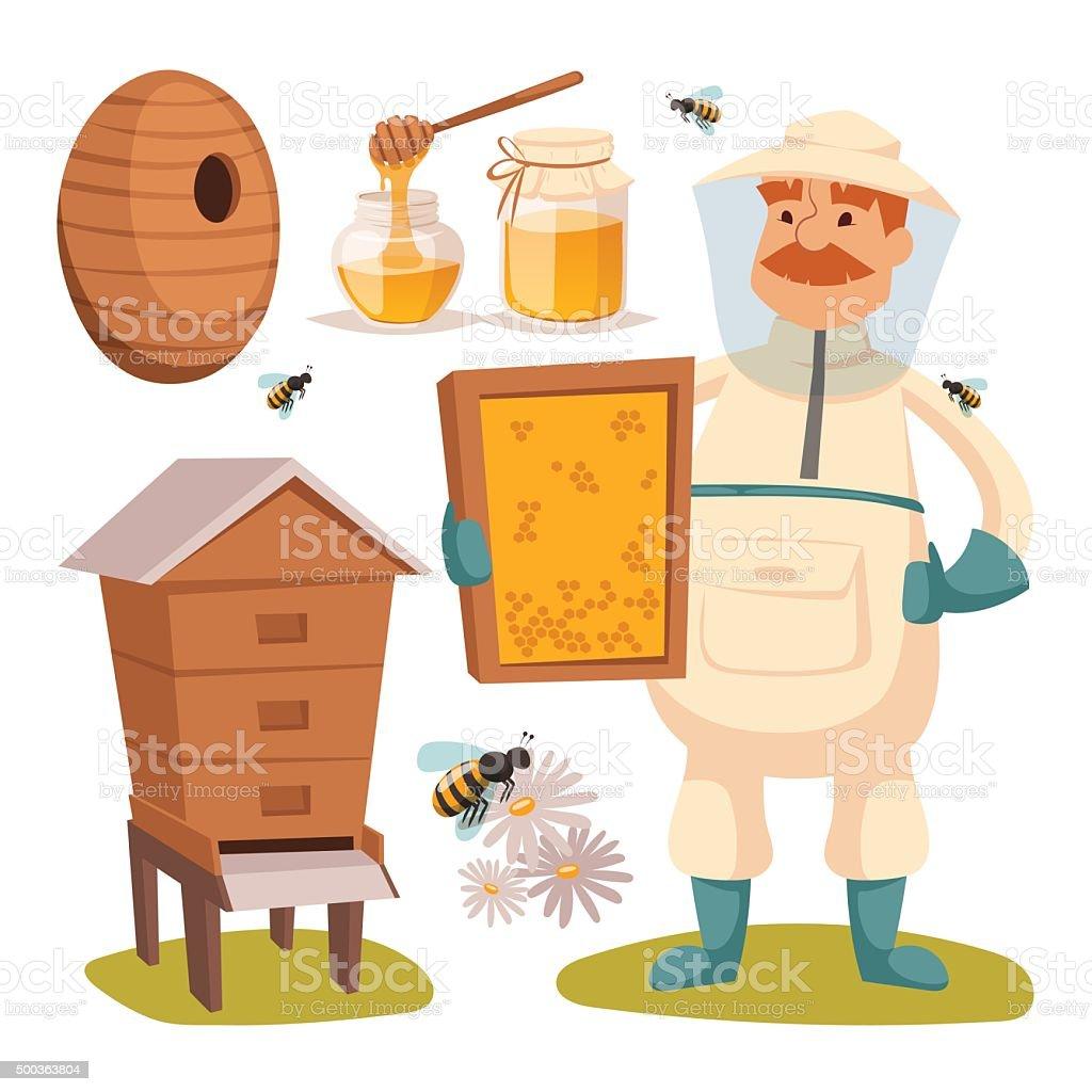 Apiary beekeeper vector illustrations