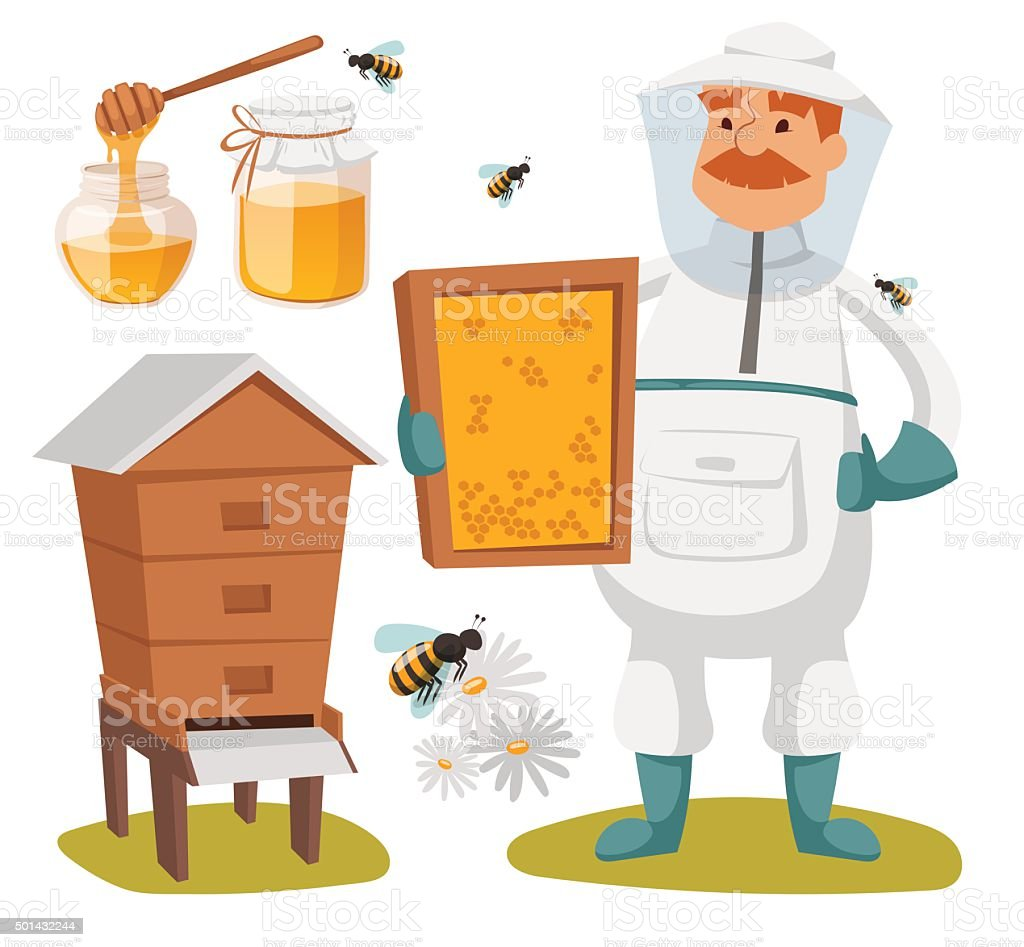 Apiculteur Apiary illustrations vectorielles - Illustration vectorielle