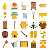 Apiary icons in flat cartoon style vector illustration for design and web isolated on white background. Apiary vector object for honey labels and advertising