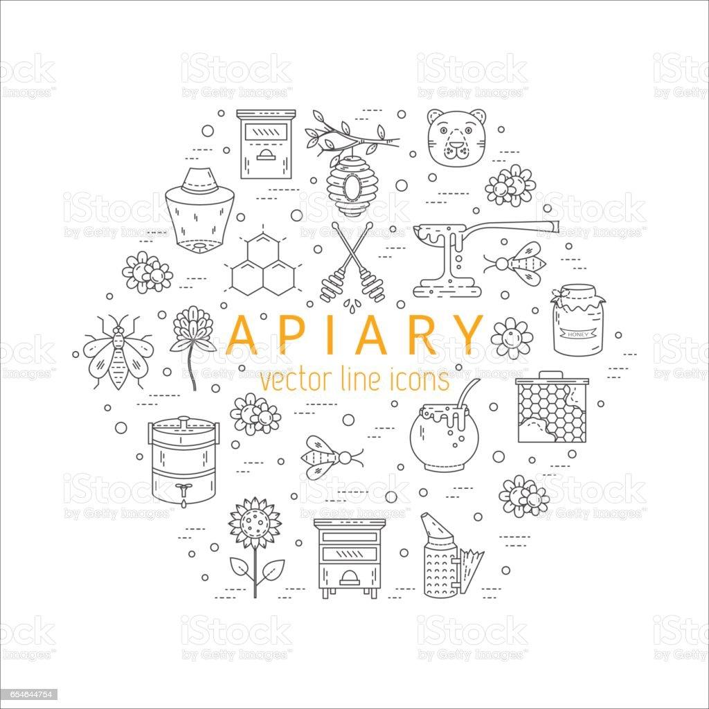 Apiary icons set vector art illustration