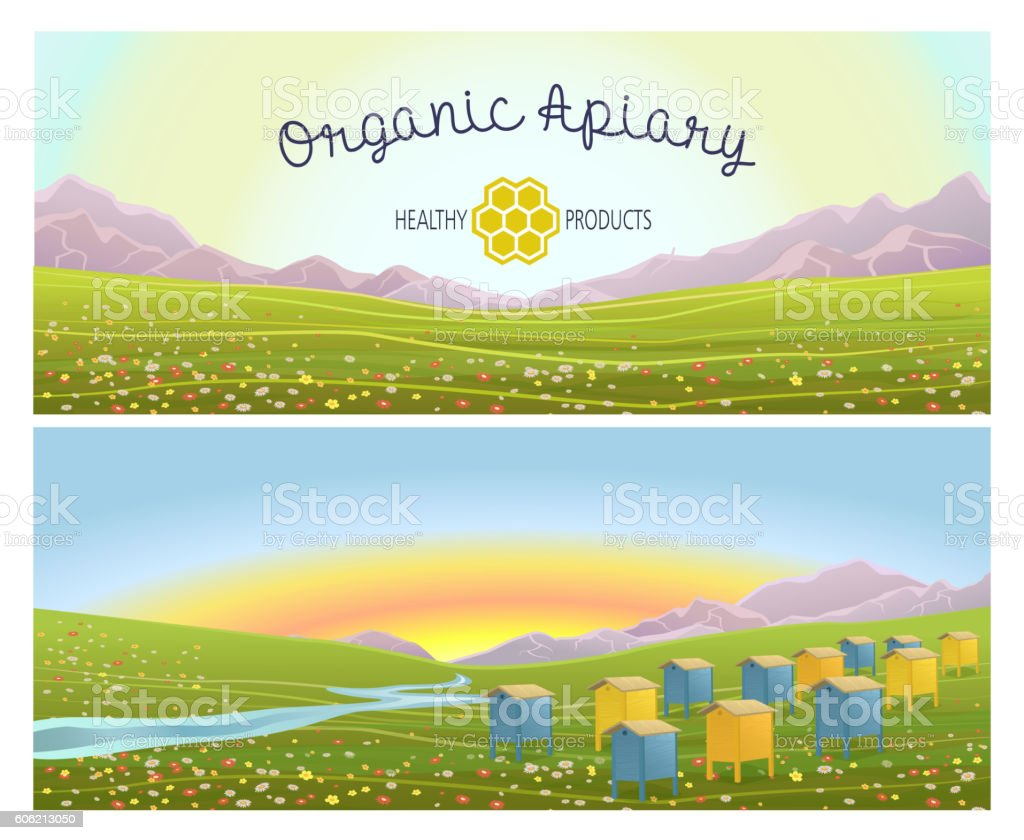 Apiary in alpine meadows mountains. Honey Farm. - Illustration vectorielle
