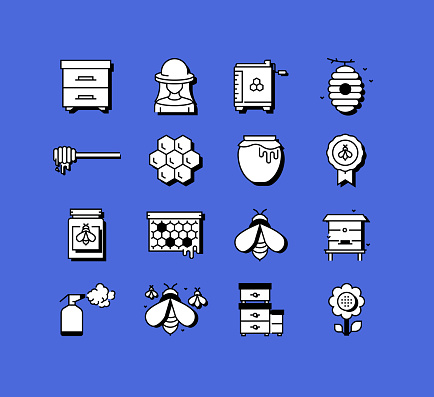 Apiary Related Icons Vector Collection. Modern Style Symbol Vector Illustration