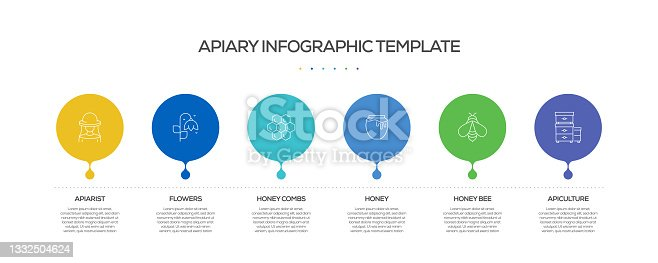 istock Apiary Related Process Infographic Template. Process Timeline Chart. Workflow Layout with Linear Icons 1332504624