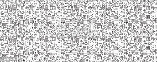 istock Apiary Related Seamless Pattern and Background with Line Icons 1203212357