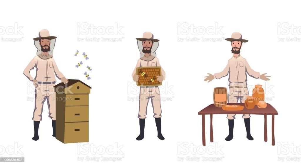 Apiculture et l'apiculture. Apiculteur, hiver récolte de miel, traitant d'abeille-maison, vente de miel fait maison. Jeu de caractères. Illustration vectorielle plat coloré. Isolé sur fond blanc - Illustration vectorielle