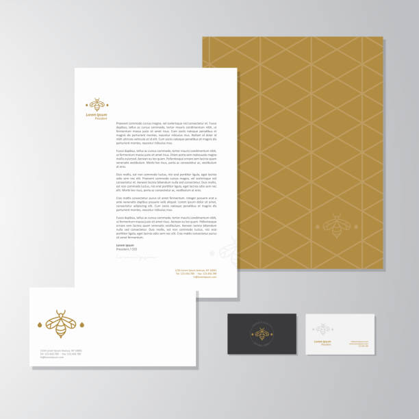 Apiculture business stationery design Stationery design for an apiculture company. Letterhead, folder, envelope and business card with logo. All design elements are layered and grouped. Eps10, contains transparent objects. business cards and stationery stock illustrations