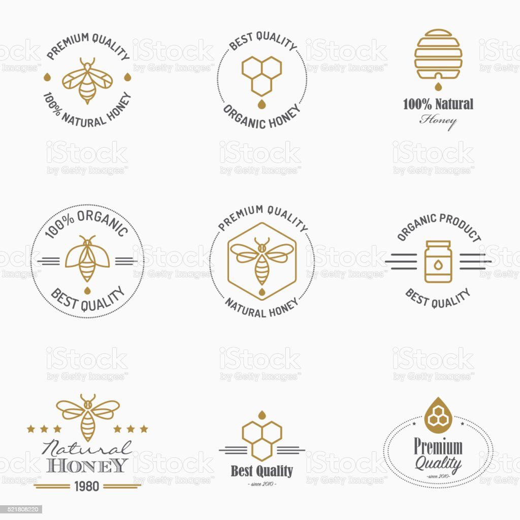 Apiculture icons with text vector art illustration