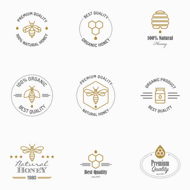 Apiculture icons with text Badges with apiculture icons. Eps8. All design elements are layered and grouped.  beehive stock illustrations