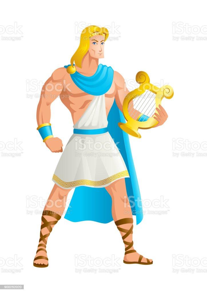 Apollo the God of music vector art illustration