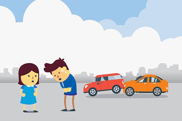 bildbanksillustrationer, clip art samt tecknat material och ikoner med apologizes for car accident - krockad bil
