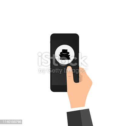 VPN app, anonymous proxy. Hand holds smartphone, disguise mask on screen, finger touches screen. Anonymity on internet, online privacy, anonymous browsing, proxy browser concept. Vector illustration