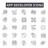 istock App developer line icons for web and mobile design. Editable stroke signs. App developer  outline concept illustrations 1136894668