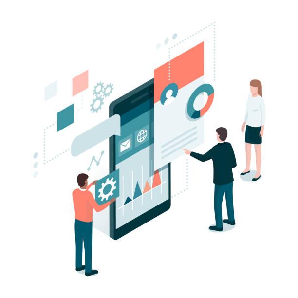 app-entwicklung und business - webdesigner grafiken stock-grafiken, -clipart, -cartoons und -symbole