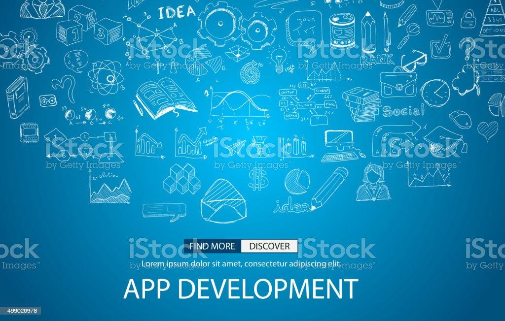 App Development Concept with Doodle design style vector art illustration